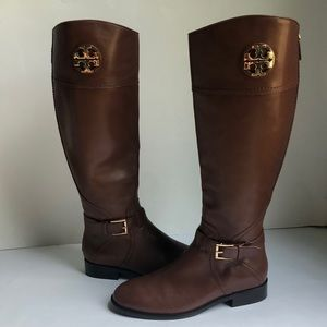 New Tory Burch Adeline Tall Brown Riding Boots 7.5